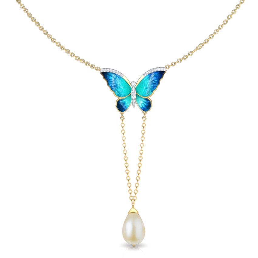 Diamond,Gemstone Necklaces 18 Karat Yellow Gold V-Drop Blue Butterfly Gemstone Necklace