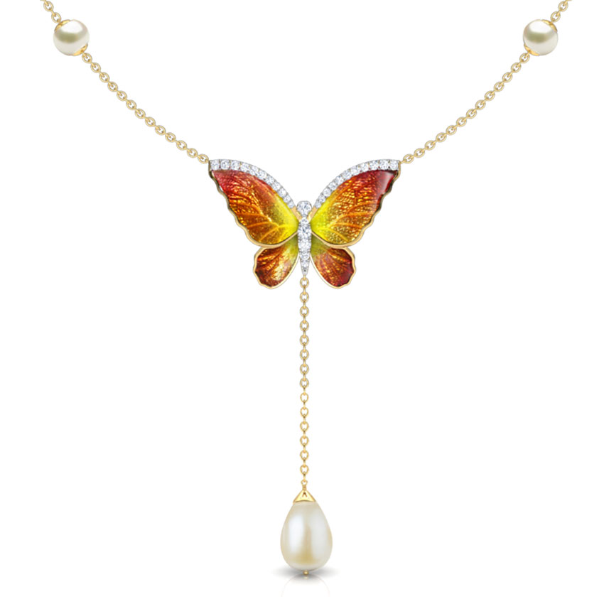 Flared Orange Butterfly Necklace