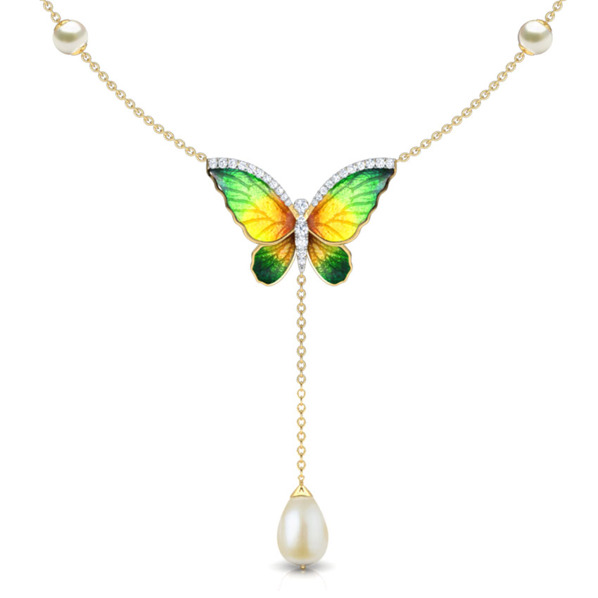 Flared Green Butterfly Necklace