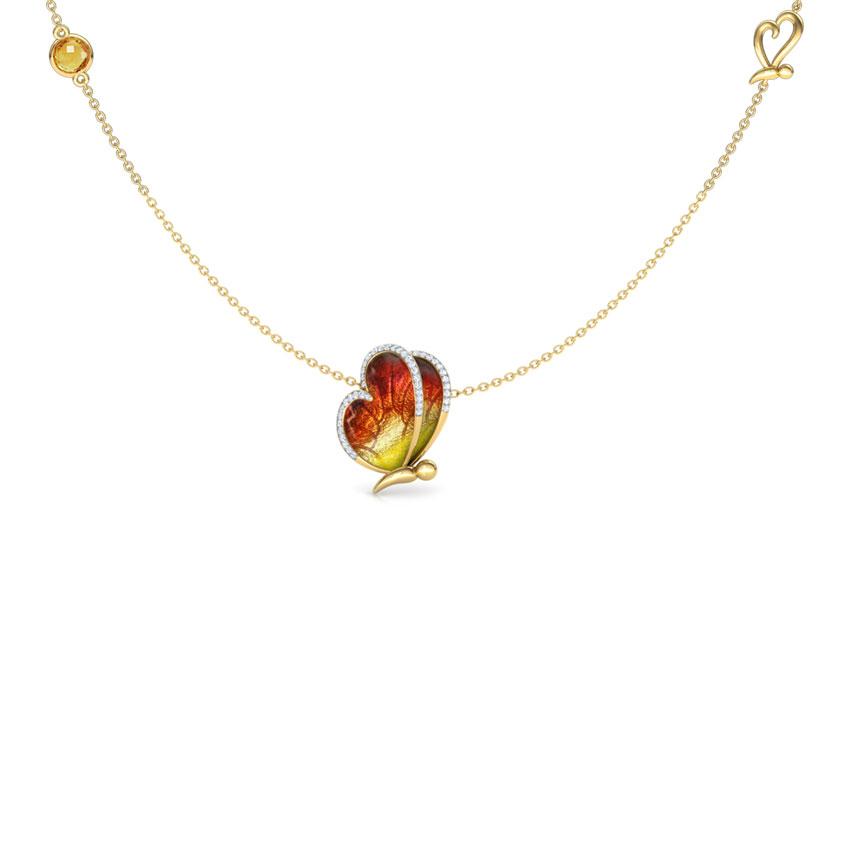 Flap Orange Butterfly Necklace