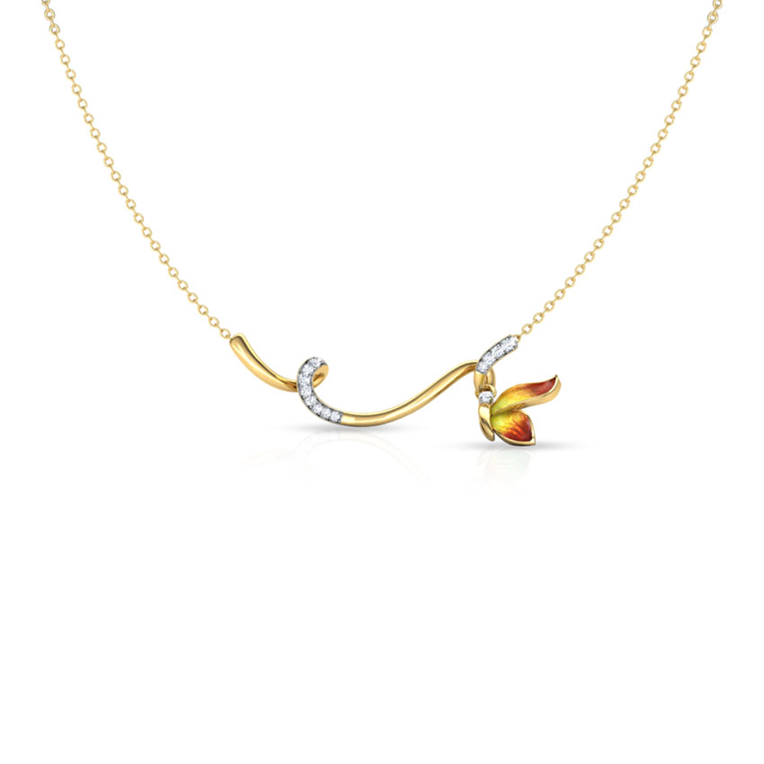 Tendril Orange Butterfly Necklace