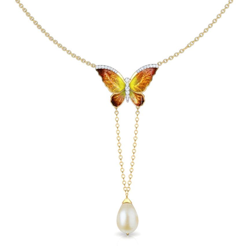 V-Drop Orange Butterfly Necklace