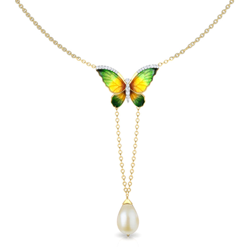 V-Drop Green Butterfly Necklace