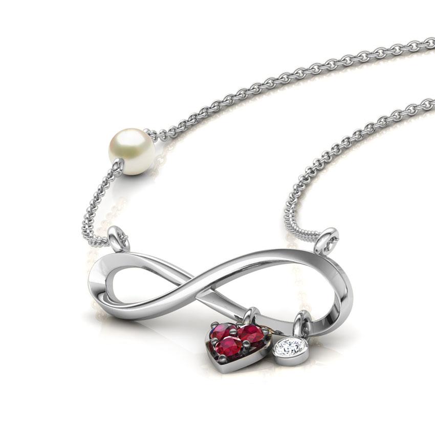 Diamond,Gemstone Necklaces 18 Karat White Gold Forever in Love Gemstone Bar Necklace