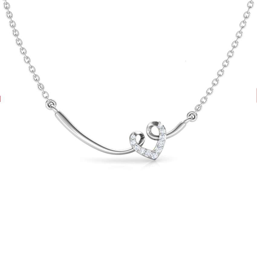 Diamond,Gemstone Necklaces 14 Karat White Gold Looped Diamond Heart Bar Necklace