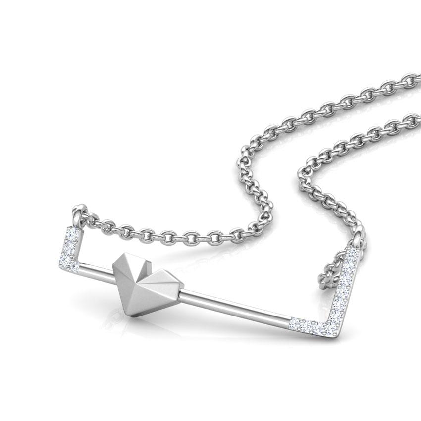 Diamond Necklaces 14 Karat White Gold Edgy Love Diamond Necklace