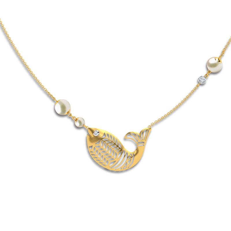Diamond,Gemstone Necklaces 18 Karat Yellow Gold Matsya Gemstone Necklace