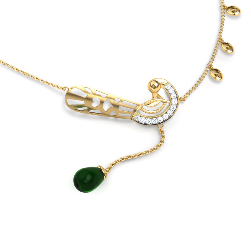 Diamond,Gemstone Necklaces 18 Karat Yellow Gold Navilu Plumage Gemstone Necklace