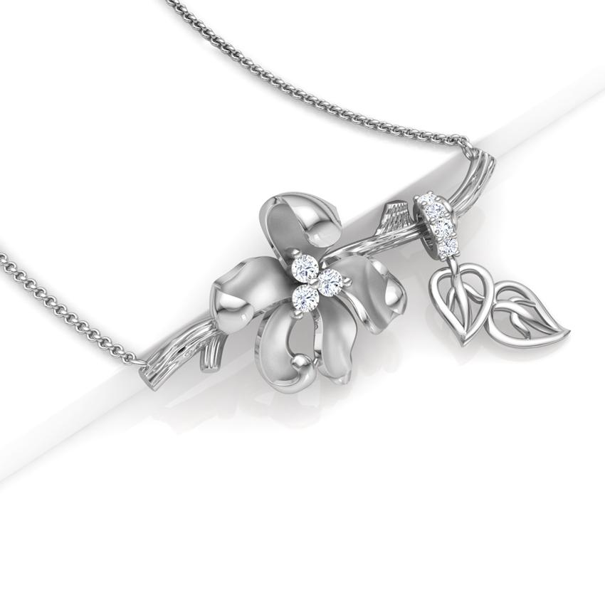 Diamond Necklaces 18 Karat White Gold Iris Floret Diamond Necklace