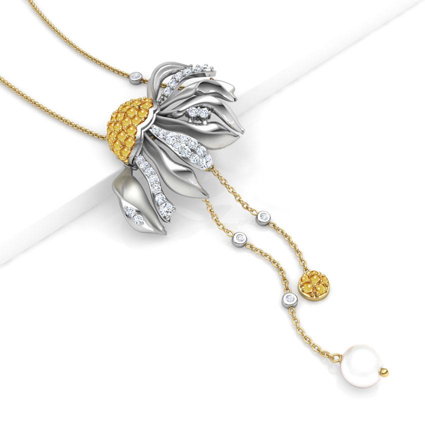 Gazania Floret Lariat Necklace