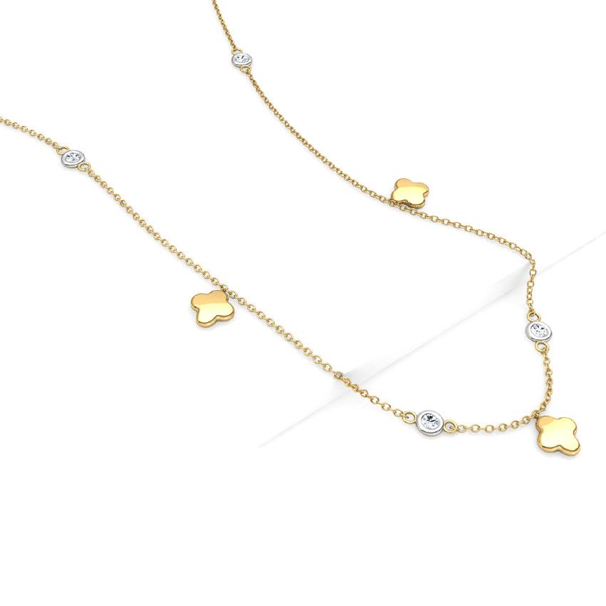Diamond Necklaces 18 Karat Yellow Gold Bud Fine Line Diamond Necklace