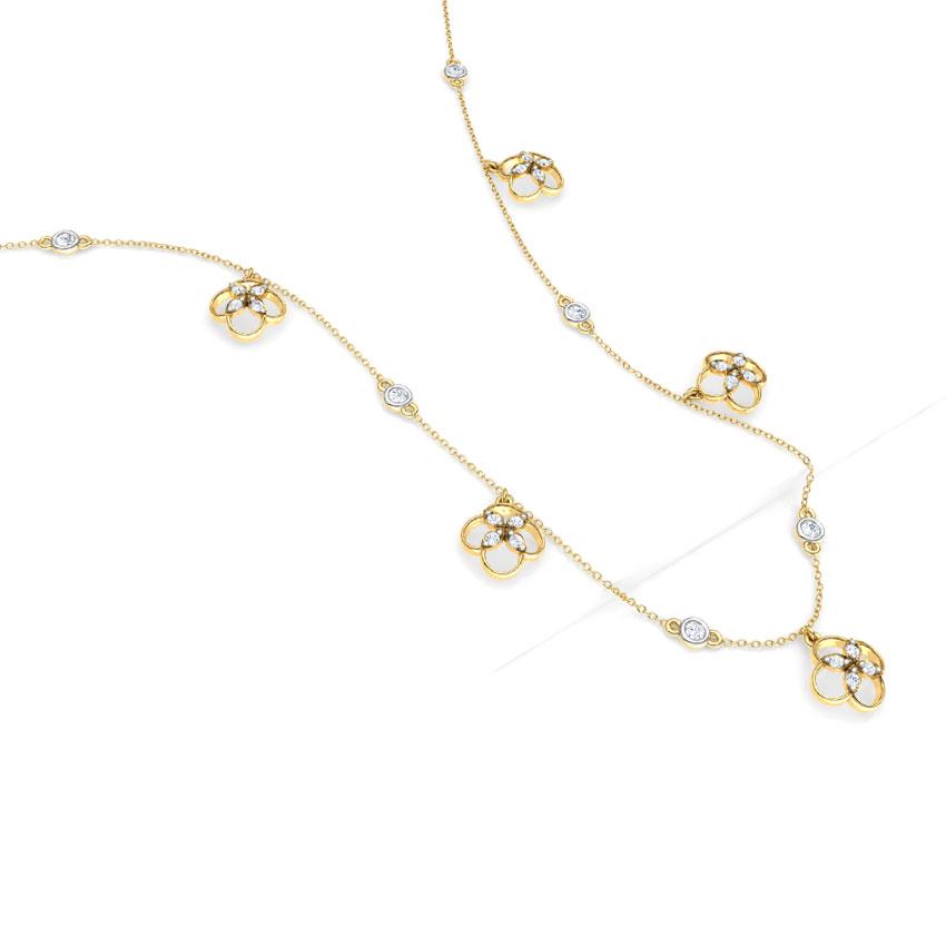 Diamond Necklaces 18 Karat Yellow Gold Blossom Fine Line Necklace