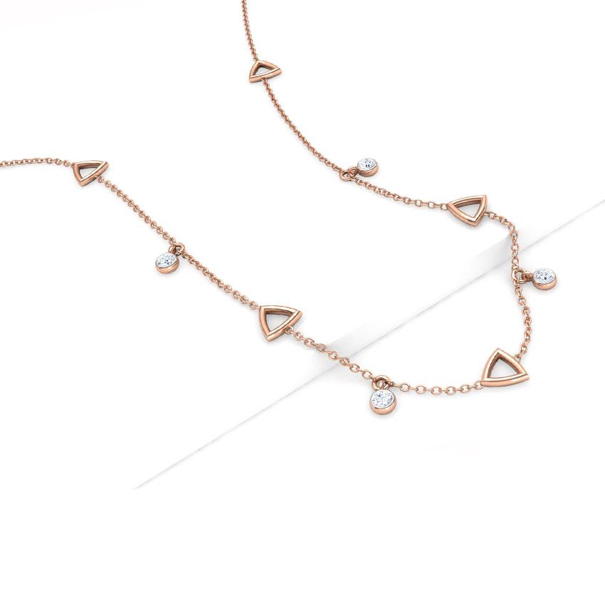 Diamond Necklaces 18 Karat Rose Gold Geometric Fine Line Diamond Necklace