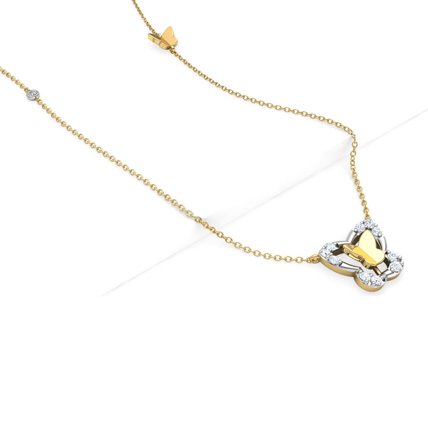 Diamond Necklaces 18 Karat Yellow Gold Butterfly Sway Diamond Necklace