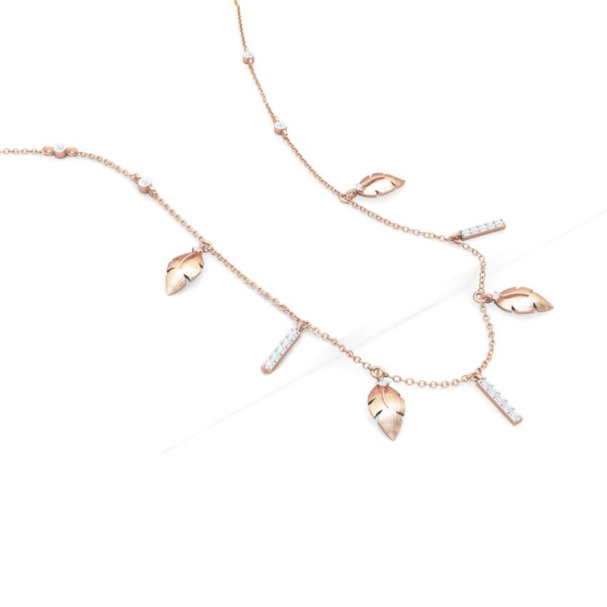 Diamond Necklaces 14 Karat Rose Gold Leaves Fine Line Diamond Necklace