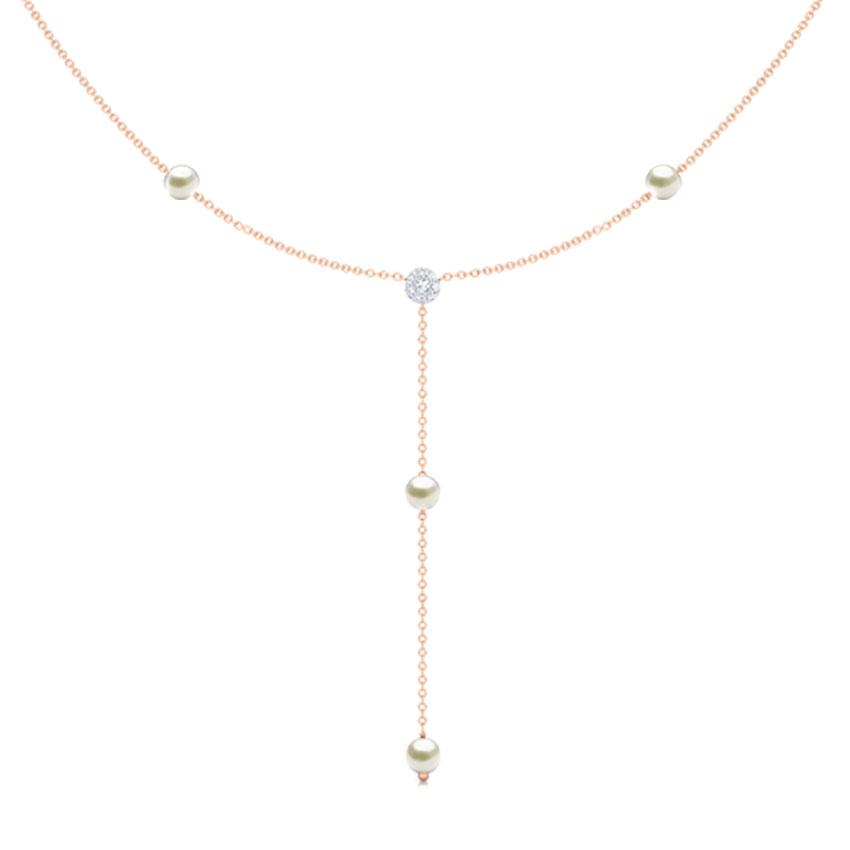 Diamond,Gemstone Necklaces 18 Karat Rose Gold Lariat Gemstone Necklace