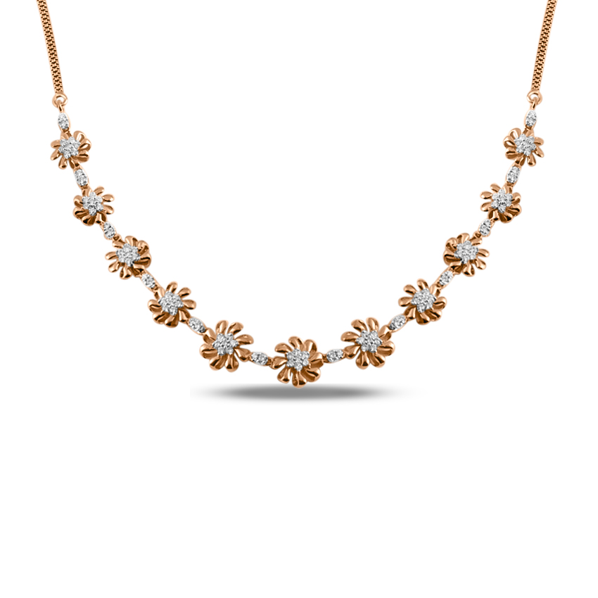 Diamond Necklaces 18 Karat Rose Gold Endless Beauty Diamond Necklace