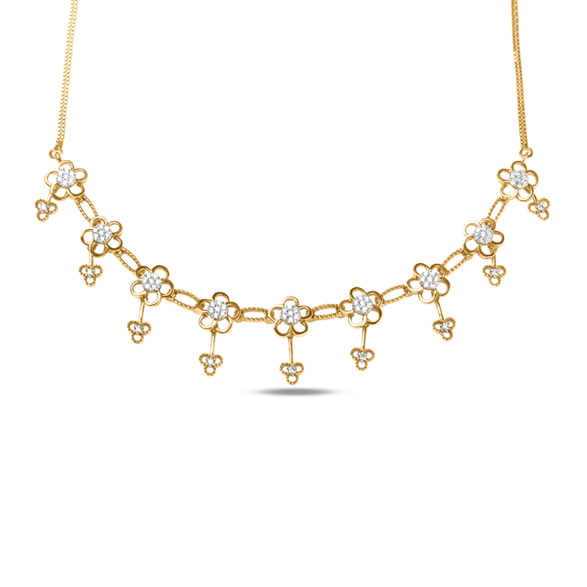 Diamond Necklaces 18 Karat Yellow Gold Pretty Floral Diamond Necklace