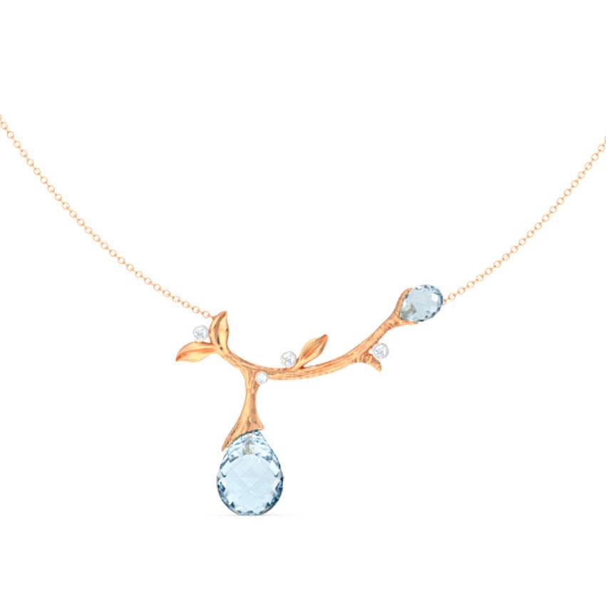 Diamond,Gemstone Necklaces 14 Karat Rose Gold Stalk Dewdrops Gemstone Necklace