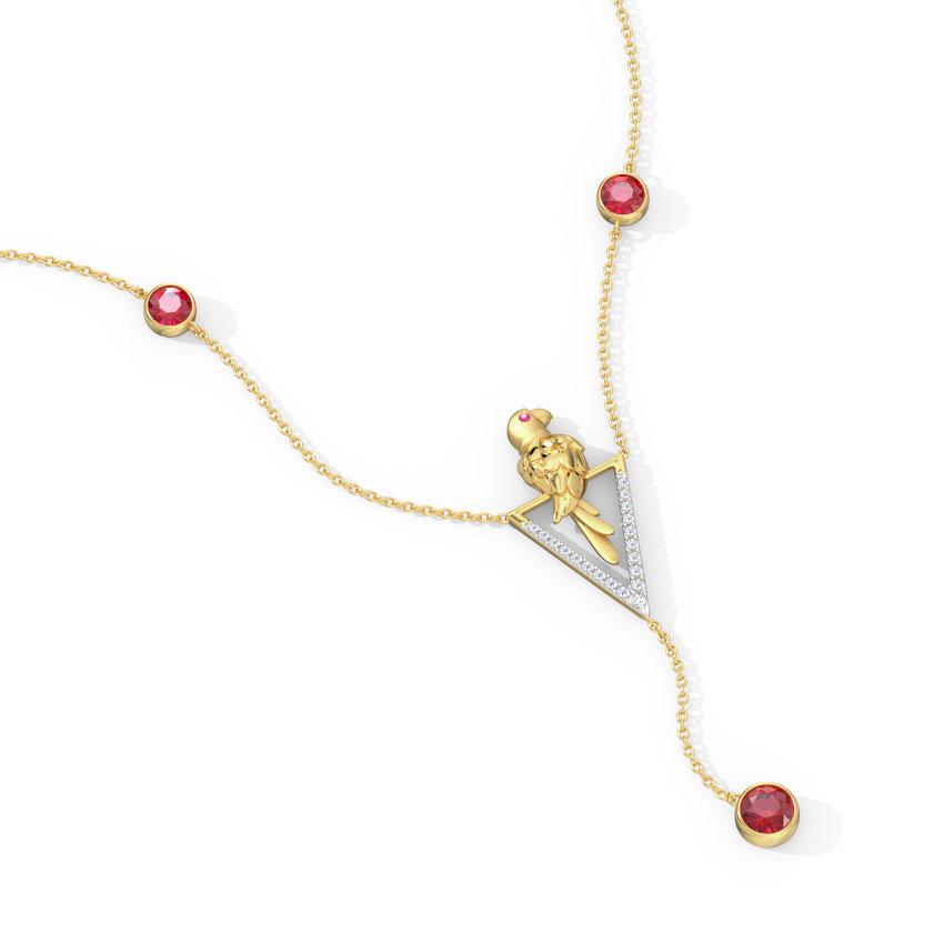 Diamond,Gemstone Necklaces 18 Karat Yellow Gold Endearing Parrot Gemstone Necklace