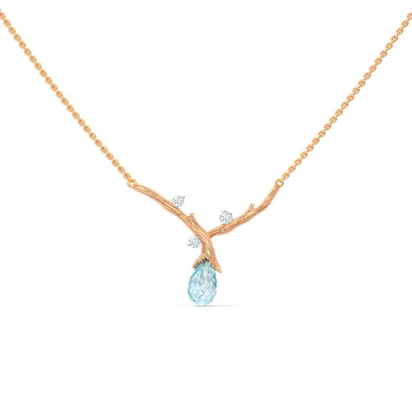 Diamond,Gemstone Necklaces 14 Karat Rose Gold Sprig Dewdrops Gemstone Necklace