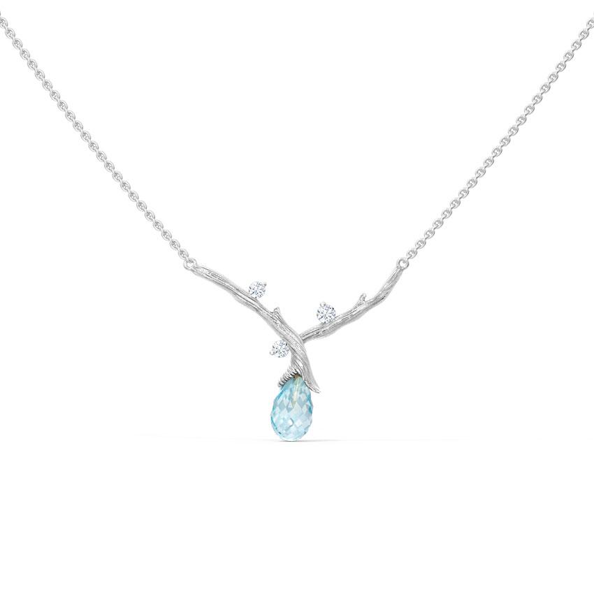 Diamond,Gemstone Necklaces 14 Karat White Gold Sprig Dewdrops Gemstone Necklace