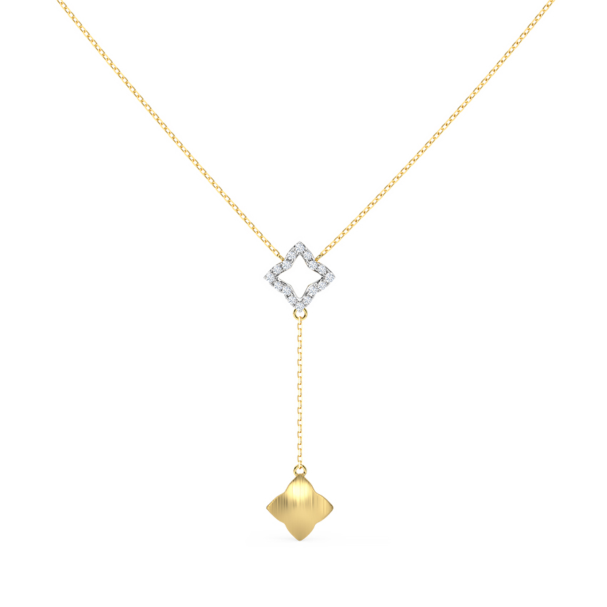 Geometric Lariat Chain Necklace
