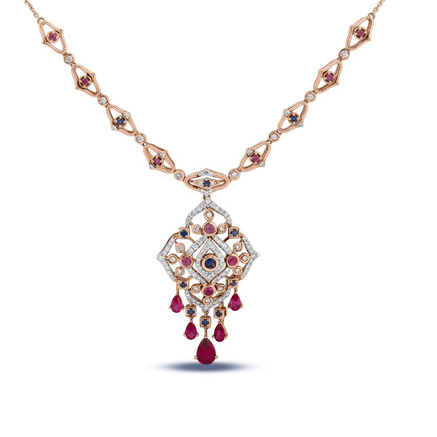 Diamond,Gemstone Necklaces 18 Karat Yellow Gold Magnificent Diamond Necklace