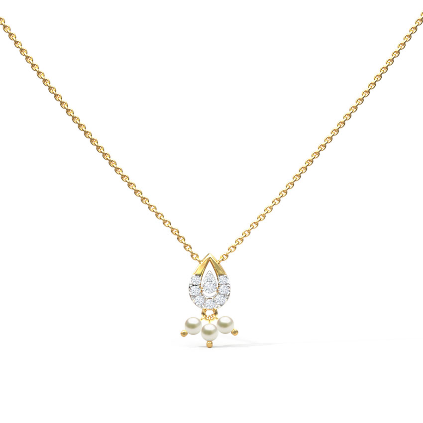 Diamond Necklaces 14 Karat Yellow Gold Glittering Gemstone Necklace
