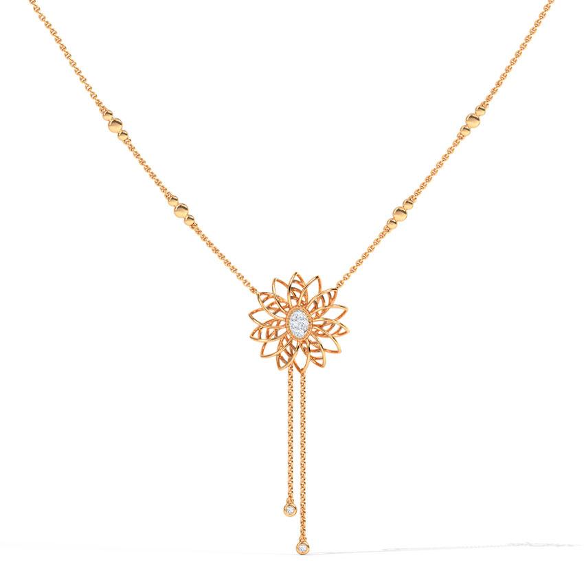 Diamond Necklaces 14 Karat Rose Gold Aster Glow Diamond Necklace