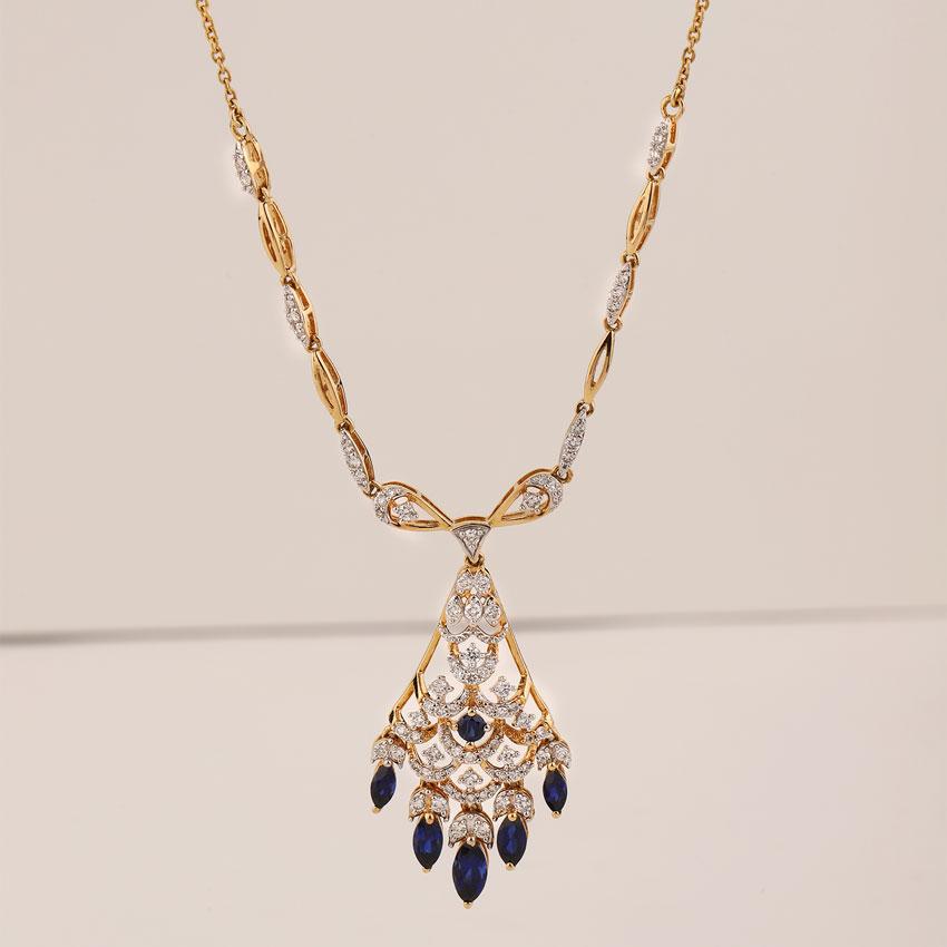 Diamond,Gemstone Necklaces 18 Karat Yellow Gold Shanaya Azure Gemstone Necklace