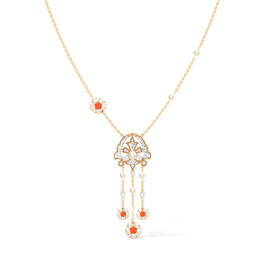 Diamond,Gemstone Necklaces 18 Karat Rose Gold Theresa Gemstone Necklace