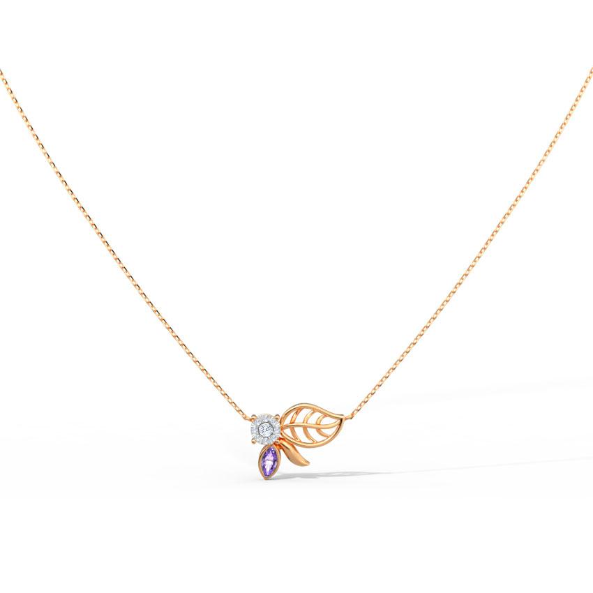 Diamond,Gemstone Necklaces 14 Karat Rose Gold Spring Bloom Gemstone Necklace