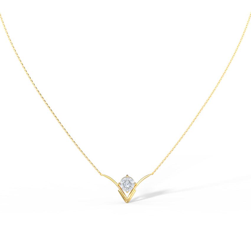 Diamond Necklaces 14 Karat Yellow Gold Nina Cluster Diamond Necklace