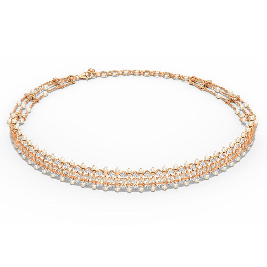Diamond,Gemstone Necklaces 18 Karat Rose Gold Persis Choker Diamond Necklace
