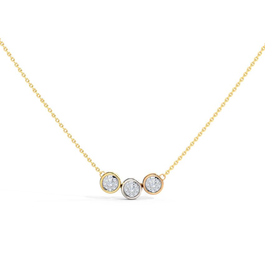 Diamond Necklaces 14 Karat Three Tone Gold Trio Cluster Diamond Necklace