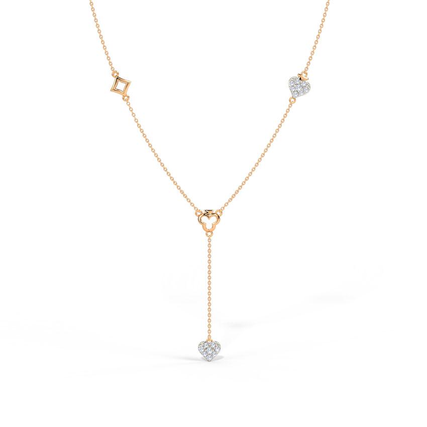 Diamond Necklaces 14 Karat Rose Gold Grandiose Diamond Lariat Necklace