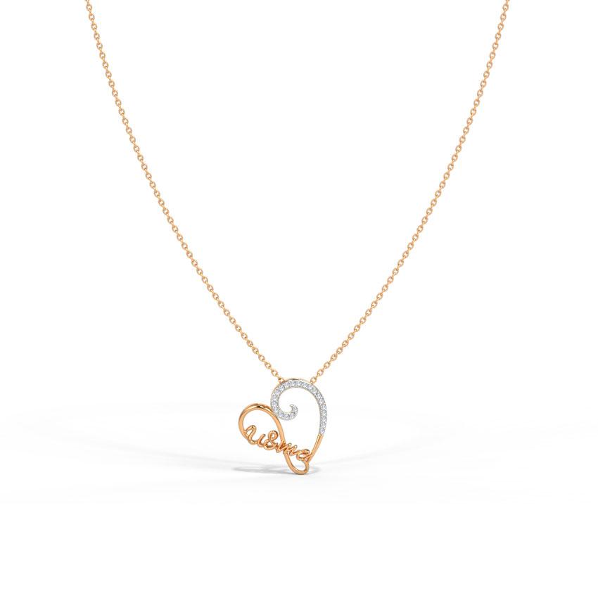 Diamond Necklaces 14 Karat Rose Gold Infinity Heart Diamond Necklace