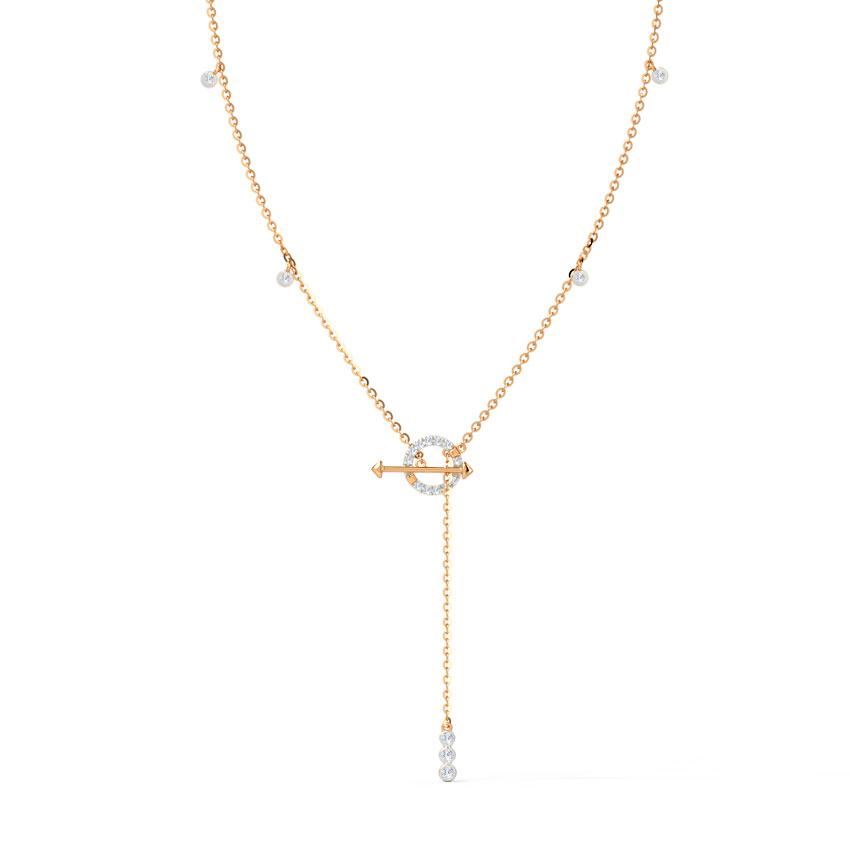 Diamond Necklaces 14 Karat Rose Gold Glory Toggle Lock Diamond Necklace