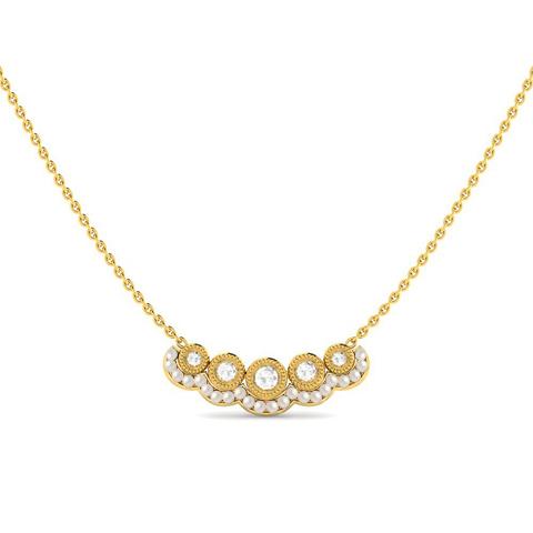 Diamond,Gemstone Necklaces 18 Karat Yellow Gold Blooming Hope Gemstone Necklace