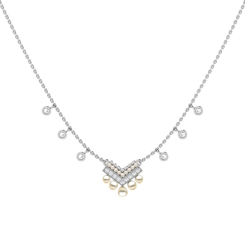 Diamond,Gemstone Necklaces 18 Karat White Gold Seeds of Hope Gemstone Necklace