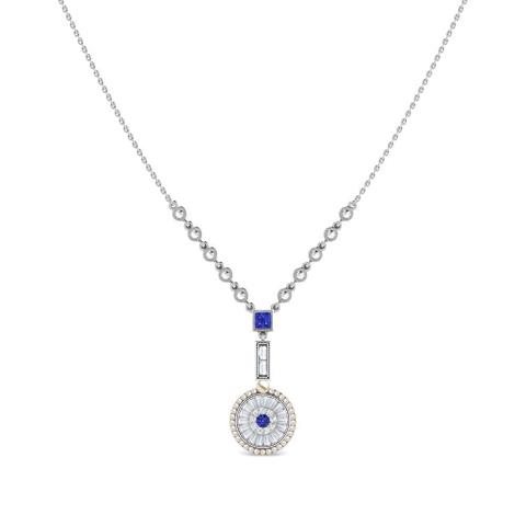 Diamond,Gemstone Necklaces 18 Karat White Gold Seeds of Promise Gemstone Necklace
