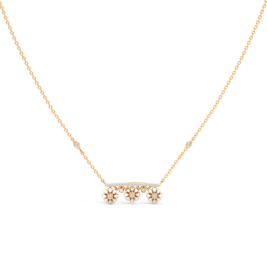Diamond Necklaces 14 Karat Rose Gold Self Love Blooming Necklace