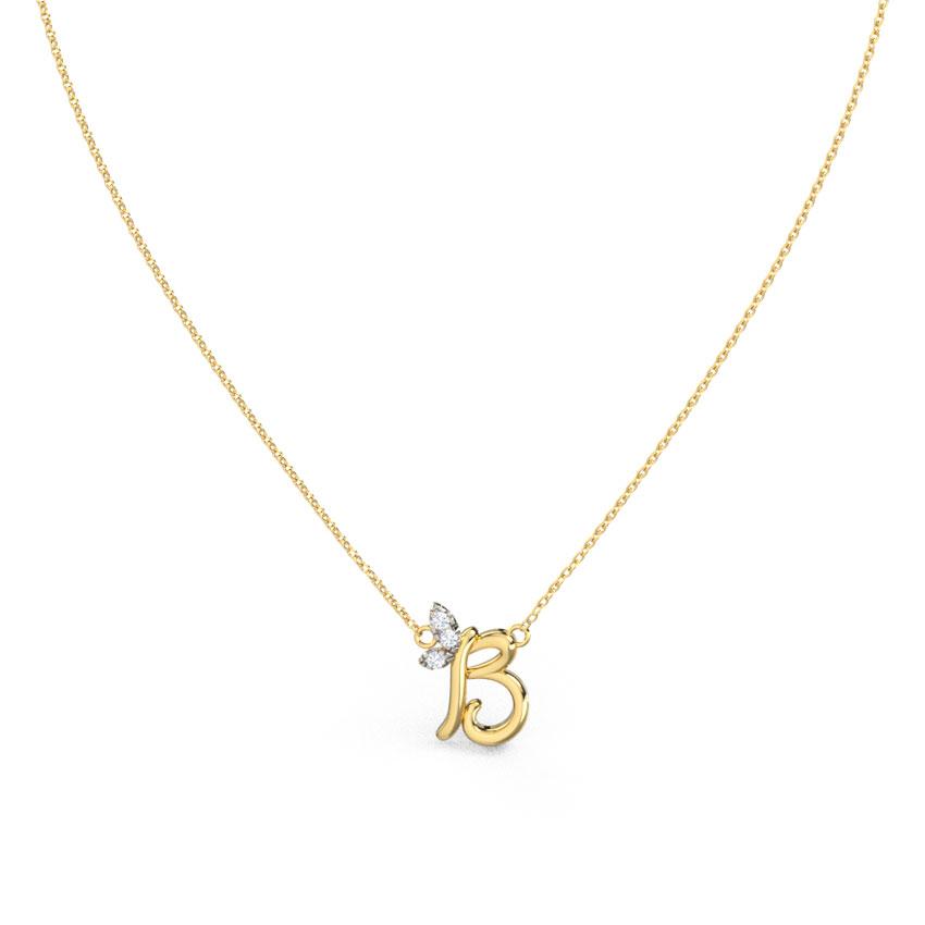 Diamond Necklaces 14 Karat Yellow Gold Leafy Alphabet B Necklace