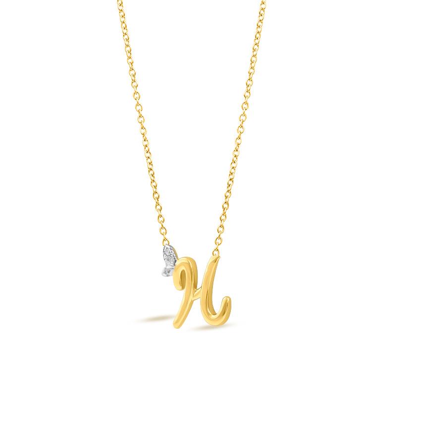 Diamond Necklaces 14 Karat Rose Gold Leafy Alphabet H Diamond Necklace
