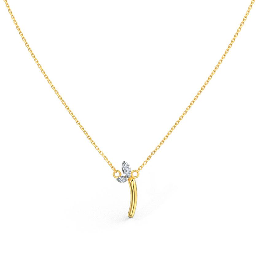 Diamond Necklaces 14 Karat Yellow Gold Leafy Alphabet I Diamond Necklace