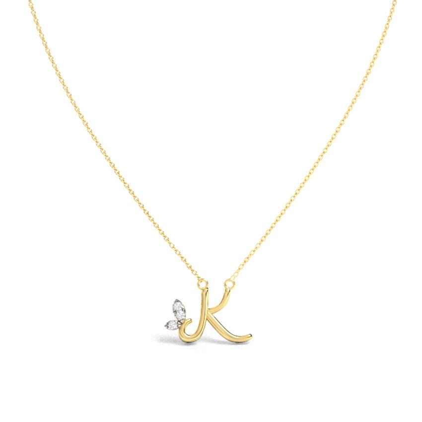 Leafy Alphabet K Necklace