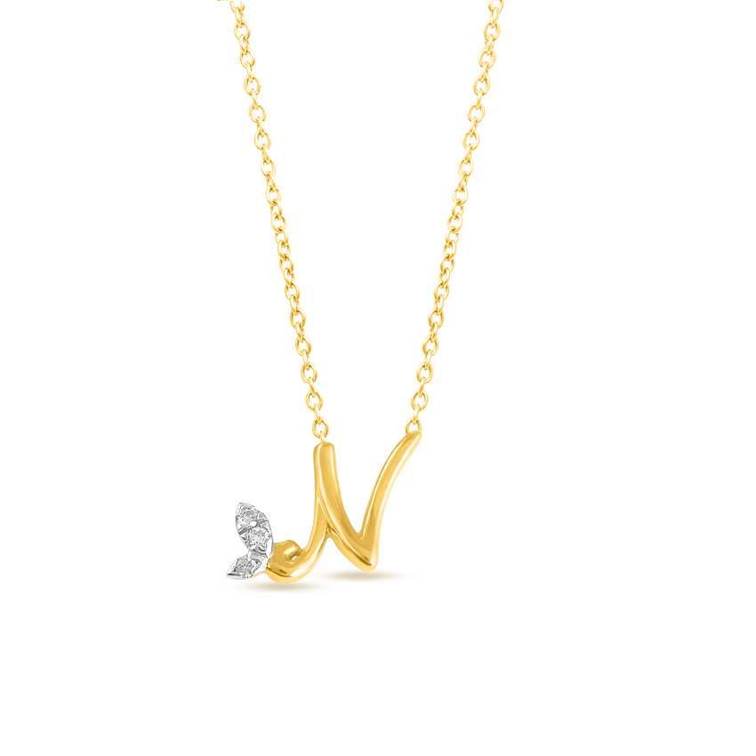 Leafy Alphabet N Necklace