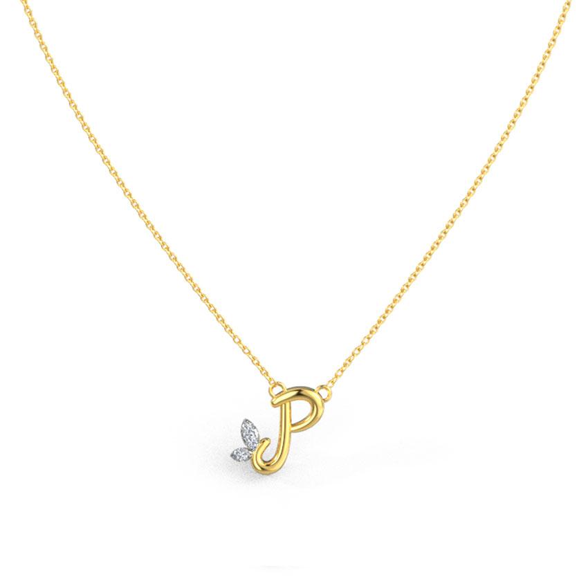 Leafy Alphabet P Necklace