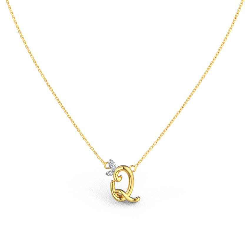 Leafy Alphabet Q Necklace